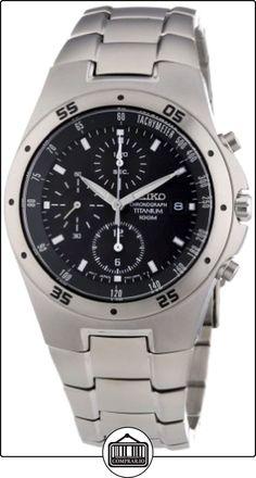 Seiko SND419P1 - Reloj cronógrafo de caballero de cuarzo con correa de titanio negra (cronómetro) - sumergible a 100 metros de  ✿ Relojes para hombre - (Gama media/alta) ✿