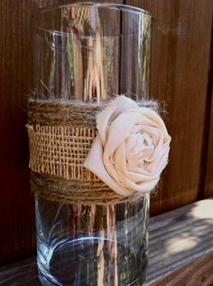 Shabby Chic Glass Candle Holder - twine or burlap with lace and navy blue flower would look nice