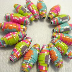 15 paper beads  Rainbow  by LilithEvy on Etsy, $6.00