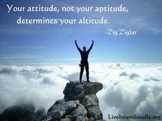 Inspirational quote: Your attitude, not your aptitude, will determine your altitude. -Zig Ziglar