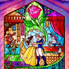 beauty and beast stained glass window - Google Search
