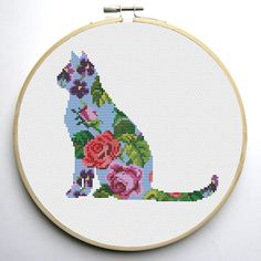 Floral Cat is a pattern, not the completed work.   I designed it myself.  Floral Cat 1 :  On 14-count aida the design measures 8.86w X 6.43h inches / 22.50w X 16.33h cm / 124w X 90h Stitches  Sizes will change with count size.  Design used 20 DMC thread colors. This pattern allows you the freedom to pick your own fabric and floss color.  Floral Cat 2 :  On 14-count aida the design measures 5.57w X 5.57h inches / 14.15w X 14.15h cm / 78w X 78h Stitches  Sizes will change wi...