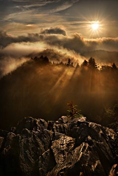 Sunsise at Charlie's Bunion on the Appalachian Trail in the Great Smoky Mountains National Park by Robert Charity.