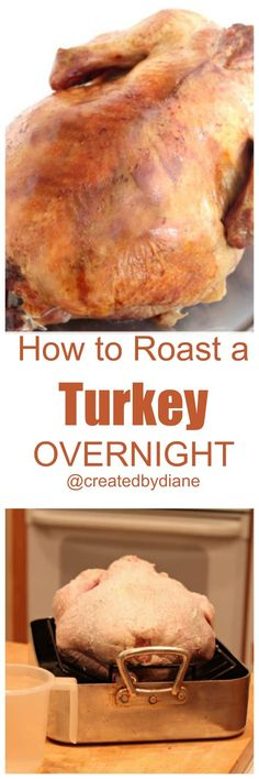 learn my tips and tricks to a PERFECT slow roasted turkey, success on the first try! roast-a-turkey-overnight-createdbydiane Thanksgiving Feast, Thanksgiving Recipes, Holiday Recipes, Holiday Meals, Christmas Desserts, Christmas Recipes, Slow Roasted Turkey, Baked Turkey, Roast Turkey Recipes