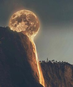Looks like the moon is flowing into the waterfall...lovely.