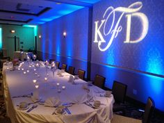 We love the uplights and initials from PSAV for a wedding or special event