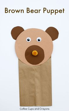 This simple brown bear puppet craft is the perfect preschool craft to go with the book Brown Bear, Brown Bear What Do You See?!