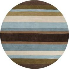 @Overstock - Featuring a bold stripe pattern, this round hand-tufted rug will look stunning in your family room or den. It features an easy-to-care-for polyester and acrylic blend, and the blue, mocha, and sage pattern will look great with dark wood furniture.http://www.overstock.com/Home-Garden/Hand-tufted-Retro-Chic-Brown-Stripe-Rug-8-Round/5649052/product.html?CID=214117 $309.99