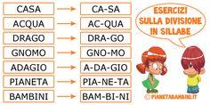 Esercizi sulla divisione in sillabe con soluzioni da stampare per bambini della scuola primaria