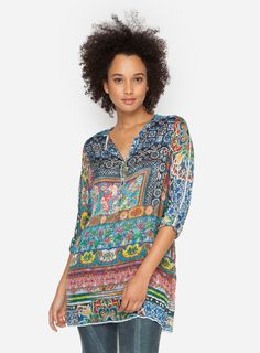0a1d7473320 The print of the Johnny Was PLUS SIZE FRAME TUNIC is a gorgeous  kaleidoscope of color and far-off inspirations. This whisper-light silk top  features a ...