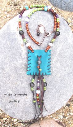 BOHEMIAN TURQUOISE LEATHER HANDMADE MEDICINE INTENTION POUCH NECKLACE