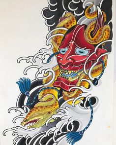 """141 Likes, 9 Comments - Enku Shoji (@enkutattoo) on Instagram: """"Hannya and moray eel sleeve available to tattoo. Pls dm or email enkushoji@gmail.com to book in…"""""""