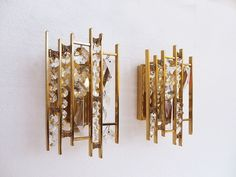 Pair of PALWA Gold Plated Crystal Glass Wall Lights / Sconces, Germany 1960's #Palwa