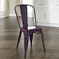 Crosley Furniture Amelia Metal Cafe Chair In Purple Set Of 2 Dining Chair  $200/pair
