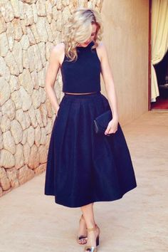 Dark Navy Blue Satin Two Piece Midi Party Prom Dresses with Pockets