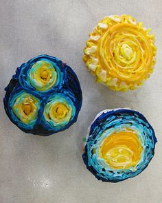 Van Gogh cupcakes  As if you have the time to do this, but what a great snack for Van Gogh week!  @Kasey Hope