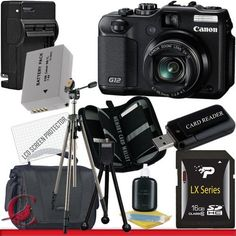 Canon PowerShot G12 Digital Camera 16GB Package 5 by Canon. $509.95. Package Contents:  1- Canon G12 10 MP Digital Camera USA w/ All Supplied Accessories 1- 16GB SDHC Class 10 Memory Card 1- Rapid External Ac/Dc Charger Kit   1- USB Memory Card Reader  1- Rechargeable Lithium Ion Replacement Battery  1- Weather Resistant Carrying Case w/Strap  1- Pack of LCD Screen Protectors  1- Camera & Lens Cleaning Kit System  1- Mini Flexible Table Top Tripod 1- Memory Card Wallet  1- Pro...