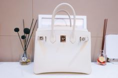 Hermes Birkin Bag in Pure white with epsom leather Popular Purses, Designer Bags, Pure White, Hermes Birkin, Purses And Bags, Pure Products, Link, Leather, Couture Bags