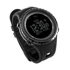 SUNROAD FR801B Outdoor Sports Watch with Pedometer Stopwatch Altimeter Barometer Thermometer CompassTimer LCD Display EL Backlight for Sports Fan (Black) -- Awesome products selected by Anna Churchill
