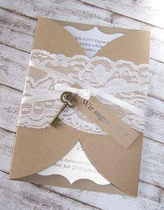 Kartenmanufaktur Arndt, besondere Einladungen zur Hochzeit, passende Menükarten/ Hochzeitspapeterie auch im Vintage-Style mit Spitze - ! VINTAGE !
