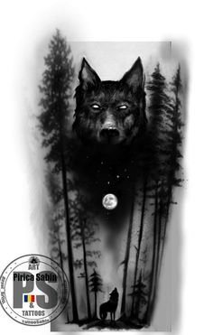 I sincerely fancy the shades, lines, and fine detail. This is really a wonderful tattoo design if you want a wolf tattoo ideas Wolf Sleeve, Wolf Tattoo Sleeve, Forearm Sleeve Tattoos, Full Sleeve Tattoos, Tattoo Sleeve Designs, Tattoo Designs Men, Tattoo Wolf, Wolf And Moon Tattoo, Tribal Sleeve