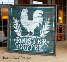 Pallet wood rooster coffee signage from Three Mango Seeds