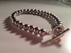 Czech Glass Pearl Toggle  Bracelet on Etsy, £15.00