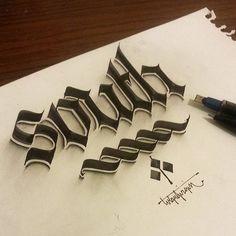 ペンで手描きされた3Dカリグラフィー - 02