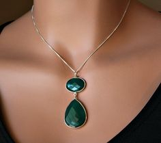 Green Onyx Pendant Sterling Necklace 925 Sterling by ByGerene