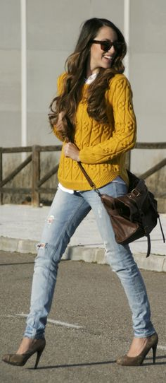 Fall / winter - street & chic style - light blue skinnies + gray heels + white shirt + mustard cable knit sweater + brown messenger bag