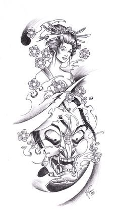 tattoo_geisha_oni_by_kauniitaunia-d4t9ydm.jpg (2196×4110)