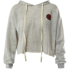 Sans Souci Grey rose print raw edge cropped hoodie