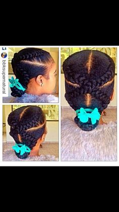 Lil Girl Hairstyles, Natural Hairstyles For Kids, Kids Braided Hairstyles, Cool Hairstyles, Braided Ponytail, Children Hairstyles, Beautiful Hairstyles, Hairdos, Pelo Natural