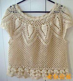 crochet top; pineapple pattern