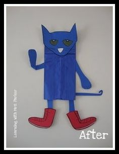 from a lunch bag.  It is a Pete the Cat puppet!  I plan on reading Pete the Cat several times the first few weeks of school as we are learning the colors.  I think this will be a great craft project for my kinders to create.   I am also going to make a retell center with this puppet.  I am going to laminate it prior to adding the shoes.  Then, I will attach velcro on the bottom where the shoes go.  I am going to make several more pairs of different colored shoe
