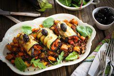 Auberginenröllchen auf Camargue-Reis mit Ofen-Kürbis
