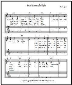 Scarborough Fair guitar tabs with chords and standard notation, FREE! Download this rewarding song for your guitar students.