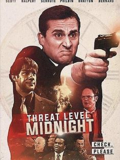 'The Office - Threat Level Midnight' Poster by SkyLane Threat Level Midnight, Office Jokes, The Office Show, Office Wallpaper, Wallpaper Ideas, Michael Scott, Long Hoodie, Poster Prints, Poster Poster