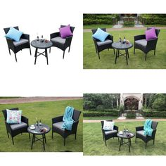 Round Coffee Table Set and Sofa Chairs Garden Furniture Patio Conservatory Black Round Coffee Table Sets, Garden Furniture, Outdoor Furniture Sets, Outdoor Tables, Outdoor Decor, Bistro Set, Sofa Chair, Conservatory, Picnic Table