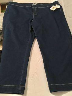 Per Se Womens wide comfy stretch Waistband Dark Blue Jeans Plus Capris Sz 3x #PerSee #CapriCroppedwidewaistband