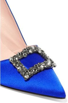SJP By Sarah Jessica Parker - Windsor Embellished Satin Pumps - Bright blue - IT