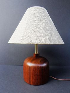 Danish Modern Vintage solid Teak/ Chrome table lamp w/ original cotton rag lamp shade (SOLD)