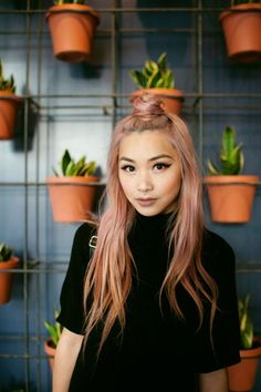 The Blorange Hair Color Trend Is Absolutely To Dye For - Hair Color Asian, Hair Color Pink, Hair Colors, Asian Hair Dye, Gold Colour, Blorange Hair, Her Hair, Peach Hair, Peach Rose
