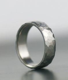 men's wedding band - 950 palladium, 14K white gold, platinum, or palladium sterling silver unique hand faceted band band for him or her on Etsy, $168.00
