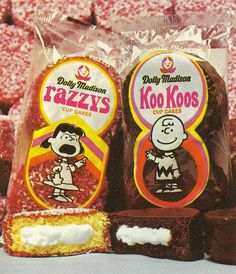Dolly Madison Razzys with Lucy and Koo Koos with Charlie Brown. Oh how I remember their sponsorship in Charlie Brown specials! Retro Recipes, Vintage Recipes, Vintage Advertisements, Vintage Ads, Vintage Food, 1970s Food, Retro Food, Illustrations Vintage, Retro Candy