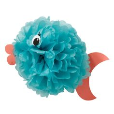 A fluffy tissue paper ball makes a great fish. No cutting required, simply fluff up your pouf according to the package directions and carefully tape on the tail, mouth and eyes.