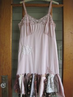 Boho dress slip dress ML tattered dress Pixie by ShabyVintage, $48.90
