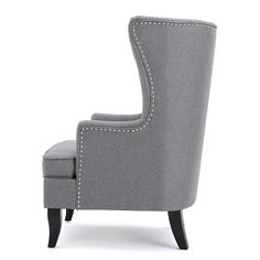 Finlay High Back Grey Fabric Wing Chair White Dining Room Chairs, Living Room Chairs, Living Rooms, Upholstered Chairs, Wingback Chair, Sofa Table Decor, Office Chairs For Sale, Classic Home Furniture, High Back Chairs
