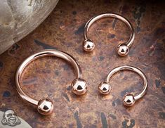 Rose gold jewellery for septum piercing