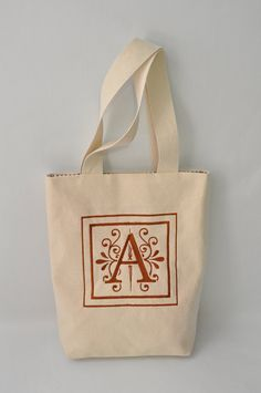 Personalized Ivory Canvas Tote Bag  by VivaEmGifts on Etsy